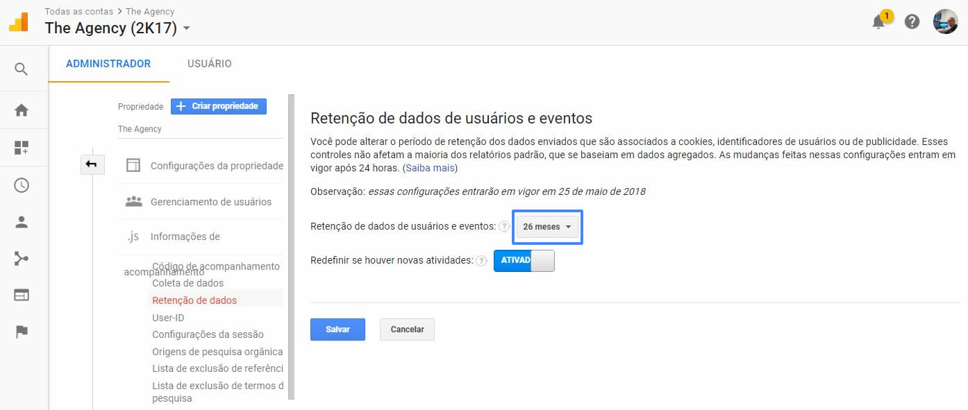 Default de 26 meses para a Retenção de dados do Google Analytics