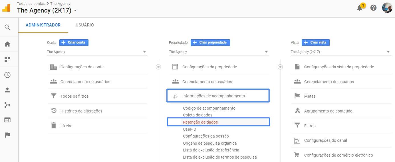 Menu de retenção de dados no Google Analytics