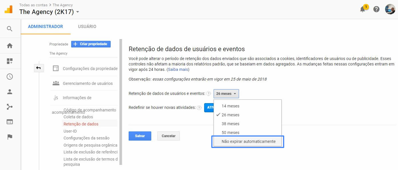 Opção de não expirar dados na Retenção de dados no Google Analytics